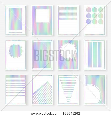 Holographic cards set. Collection of 16 trendy templates. Vector smooth hologram textures. Hipster style backgrounds for greeting cards invitations flyers posters or other printed products.