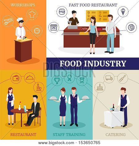 Food industry design concept with male and female people working in restaurant flat isolated vector illustration