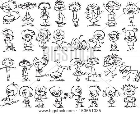 Cute happy cartoon doodle kids for your design