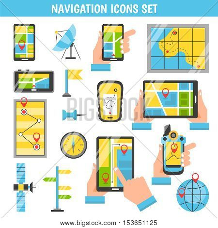 Navigation flat color icons set with routing and maps on screen of mobile phones in people hands isolated vector illustration