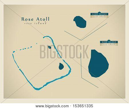Modern Map - Rose Atoll AS American Samoa vector