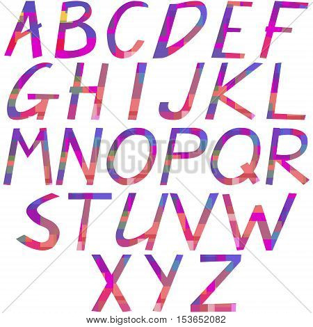 The alphabet from multi-colored geometric shapes, hand lettering