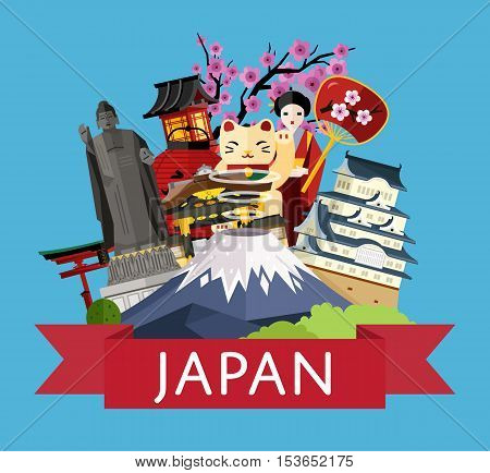 Japan travel poster with girl in traditional kimono, torii gate, fujiyama, buddha statue, ancient temples and other, vector illustration. Traditional attractions. Traveling concept. Japanese culture