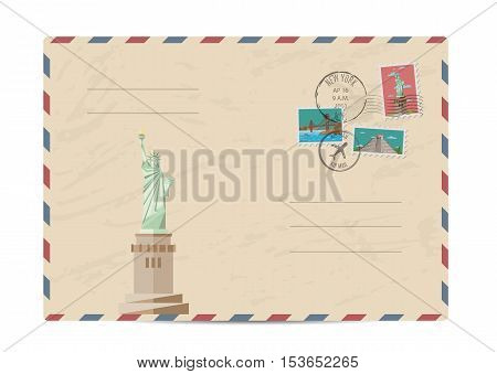 Statue of Liberty, New York. Postal envelope with famous architectural composition, postage stamps and postmarks on white background vector illustration. Airmail stamp. Envelope delivery.