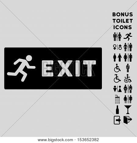 Emergency Exit icon and bonus man and female WC symbols. Glyph illustration style is flat iconic symbols, black color, light gray background.