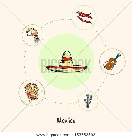 Attractive Mexico. Sombrero colored doodle surrounded by guitar, chili peppers, toucan, poncho, cactus hand drawn vector icons. Mexican cultural, culinary, nature symbols. Travel in Latin America