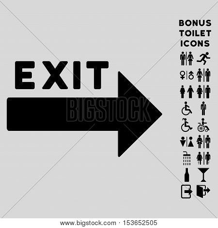 Exit Arrow icon and bonus man and female WC symbols. Glyph illustration style is flat iconic symbols, black color, light gray background.