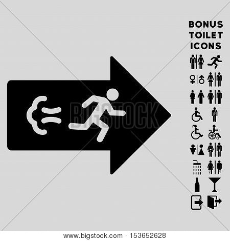 Exit Direction icon and bonus gentleman and woman toilet symbols. Glyph illustration style is flat iconic symbols, black color, light gray background.