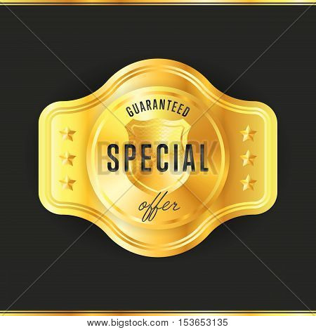 Gold metal badge guaranteed special offer - vintage style isolated vector illustration