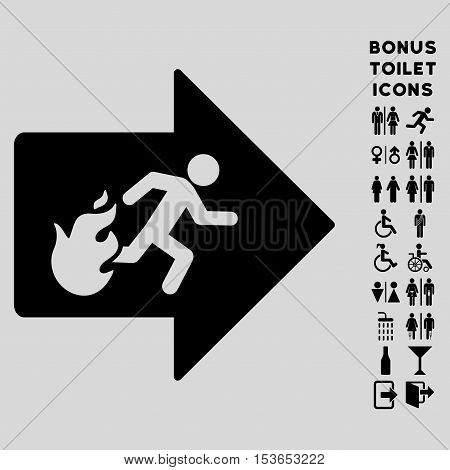 Fire Exit icon and bonus gentleman and woman WC symbols. Glyph illustration style is flat iconic symbols, black color, light gray background.