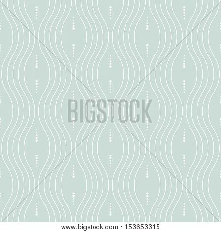 Seamless vector ornament. Modern geometric pattern with repeating dots and white wavy lines