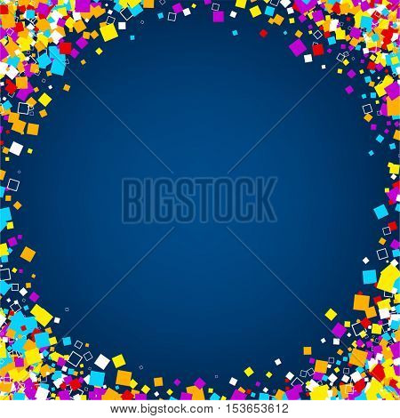 Blue abstract background with colour squares. Vector paper illustration.