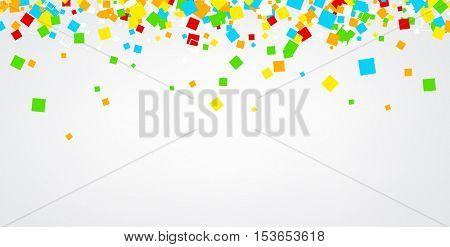 White abstract background with colour squares. Vector paper illustration.