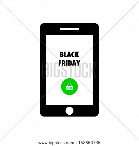 Smart phone shows text Black Friday.  Black Friday vector illustration.
