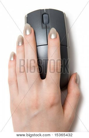 Woman hand on computer mouse.
