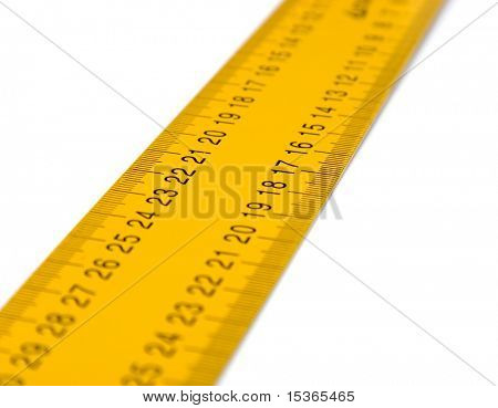 Ruler perspective view on white.
