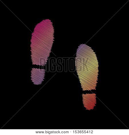 Imprint Soles Shoes Sign. Coloful Chalk Effect On Black Backgound.