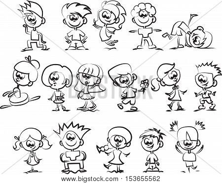 Cartoon doodle happy children, illustration picture for your design