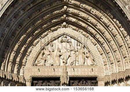 Toledo (Castilla-La Mancha Spain): exterior of the medieval cathedral in gothic style detail