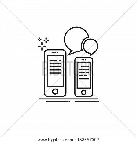 Conceptual modern icon of thin lines Communication with your smartphone. Two smartphone and speech bubble