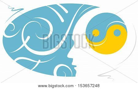 Head with Yin Yang Symbol with Swirling Background for Mindfulness Meditation Symbol