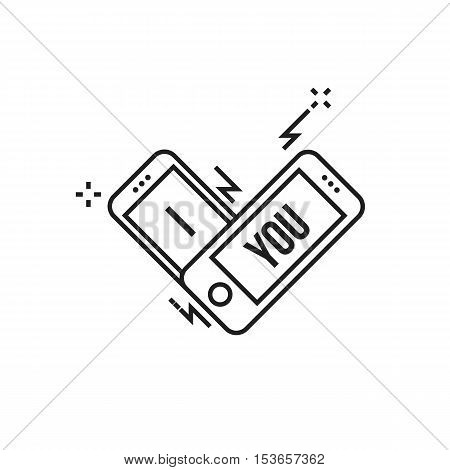 Conceptual modern icon of thin lines Smartphone I love you. smartphone in the form of a heart and the inscription I love