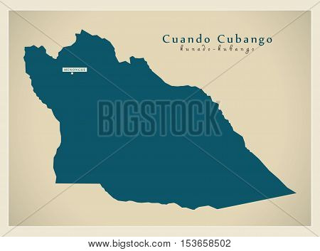 Modern Map - Cuando Cubango AO Angola vector