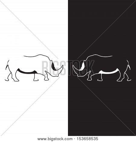 Rhino logo. Silhouette vector symbol of rhino for design