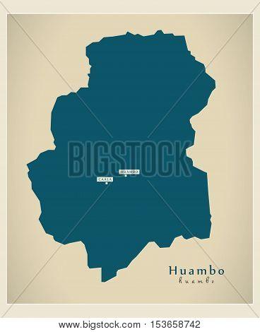 Modern Map - Huambo AO Angola vector