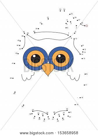 Game for children : join the dots following the numbers - owl