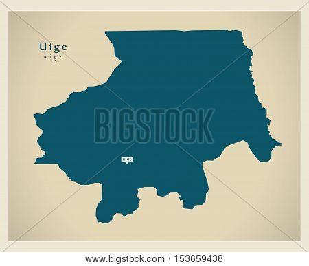 Modern Map - Uige AO Angola vector