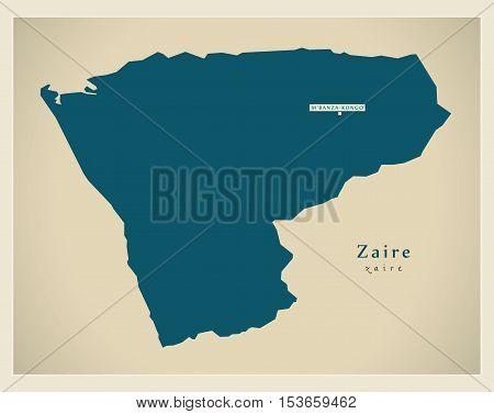 Modern Map - Zaire AO Angola vector