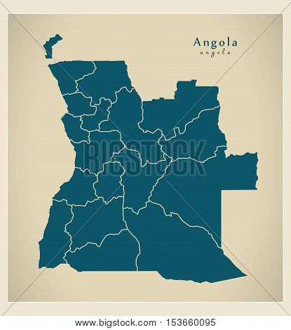 Modern Map - Angola with provinces AO vector