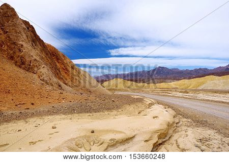 Famous Twenty Mule Teams Road In Death Valley National Park