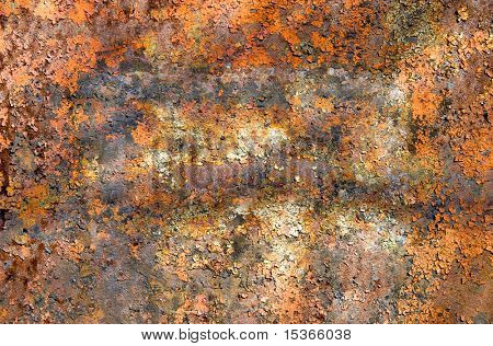 Old rusty metal surface with cracky paint.