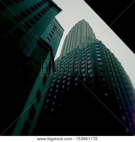 Gothic view of downtown New York City buildings looking upward