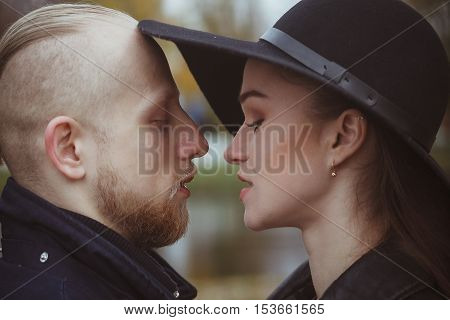 photo of couple in love with closed eyes