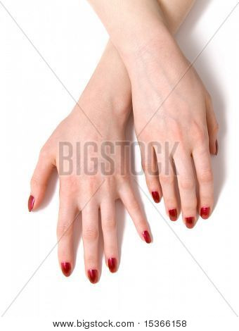 Two woman hands. On white with shadows.