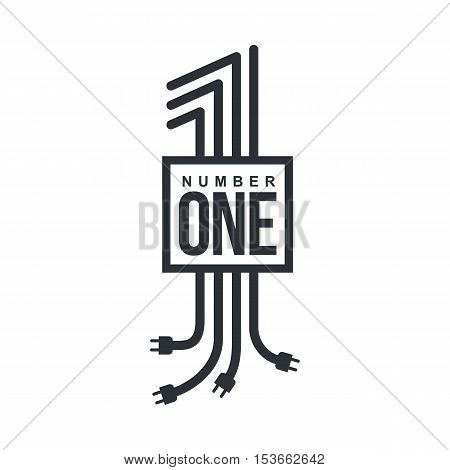 Black and white number one logo formed by electric cables with plugs, vector illustrations isolated on white background. Graphic number one logo for technological and electrical utility companies