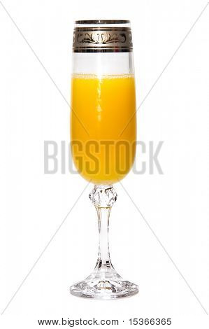 Orange juice in a glass. Isolated on white.