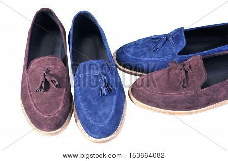 male leather loafers. stylish blue and beige two pairs shoes isolated on white background. Handmade Shoes