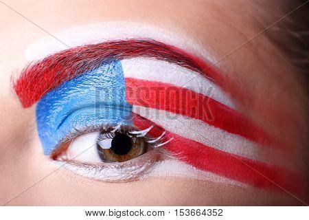 Girl with USA makeup, closeup