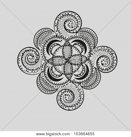 White Ethnic tattoo Abstract design author of the work style of mehendi pattern on the body henna natural material flower ornament circle eps10 vector illustration Stock