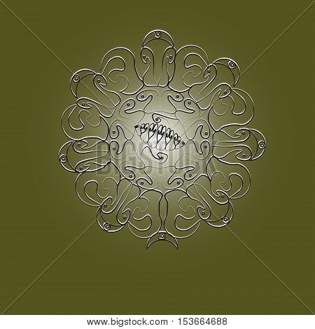 The pattern sun logo or tattoo Designs handmade author of the idea of wire metal folk art rays petals curl point circle eps10 silver moon vector illustration Stock