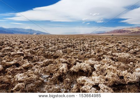 Salt Formations At Devils Golf Course In Death Valley National Park, California