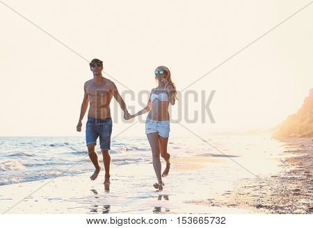 Lovely couple on tropical beach