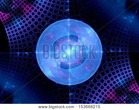 Higgs boson blue  fractal computer generated abstract background