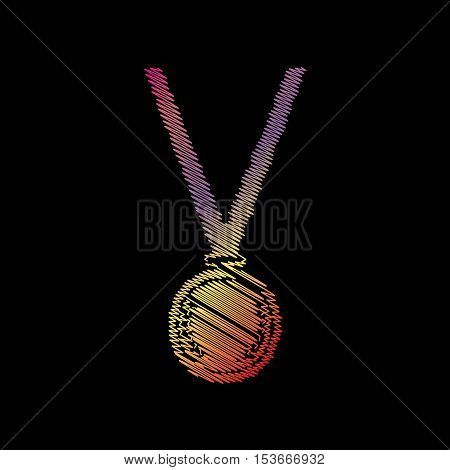 Medal Simple Sign. Coloful Chalk Effect On Black Backgound.