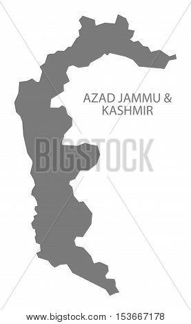 Azad Jammu & Kashmir Pakistan Map grey vector high res