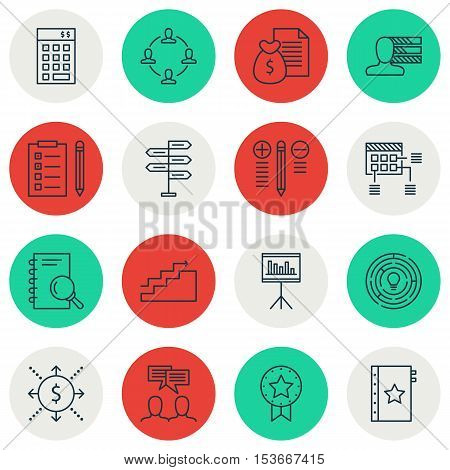 Set Of Project Management Icons On Schedule, Discussion And Opportunity Topics. Editable Vector Illu